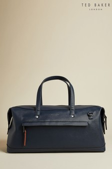 Ted Baker Blue Patche Crossgrain Finish Holdall