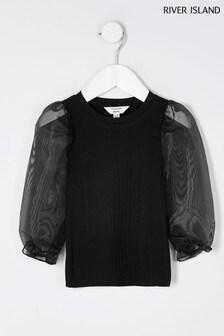 Czarna bluzka z bufiastymi rękawami z organzy River Island