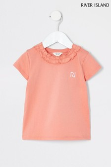 River Island Orange Frill Neck T-Shirt