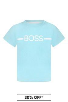 Boss Kidswear Baby Boys Blue Cotton T-Shirt