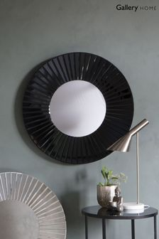Faxton Black Bevelled Round Mirror by Gallery Direct