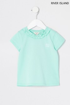 River Island Green Frill Neck T-Shirt
