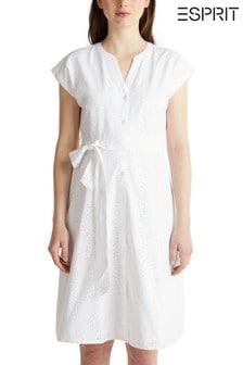 Esprit White Elegant Belted Lace Dress