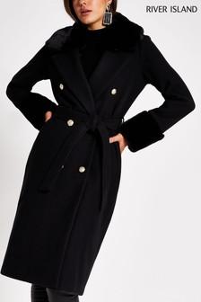 River Island Black Villanelle Faux Fur Cuff Robe Coat