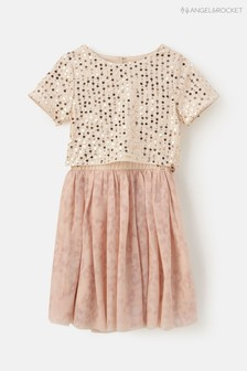 Angel & Rocket Blush Sequin Mesh Dress