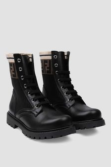Fendi Kids Black/Brown Logo Leather Boots