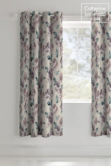 Painted Floral Lined Eyelet Curtains by Catherine Lansfield