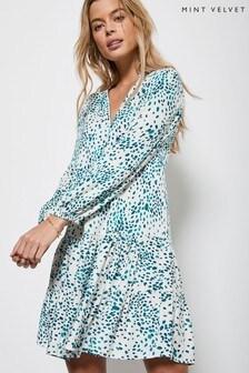 Mint Velvet Natural Mia Print Tiered Mini Dress