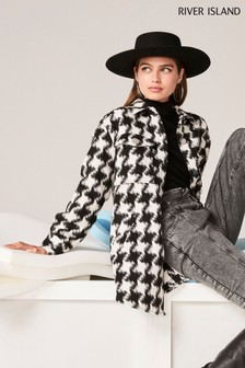 River Island Check Bieber Houndstooth Overshirt Coat