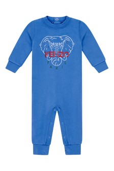 Baby Boys Blue Cotton Elephant Romper