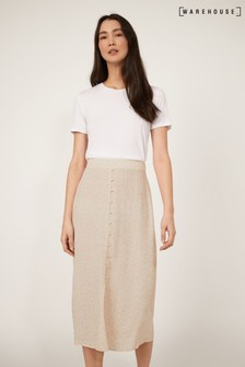 Warehouse Tan Floral Button Front Midi Skirt