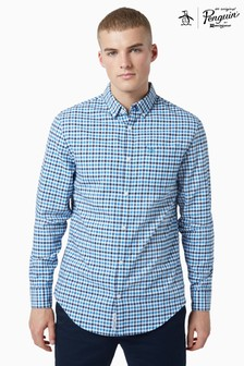 Original Penguin® Blue Cotton Oxford Multicolour Gingham Check Shirt