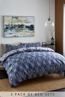 2 Pack Navy Ikat Duvet Cover and Pillowcase Set