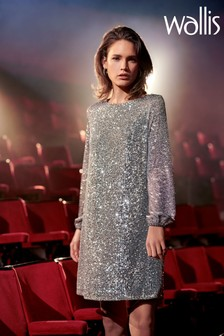 Wallis Grey Sequin Shift Dress
