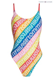 Tommy Hilfiger Yellow Rainbow Pop High Leg Swimsuit