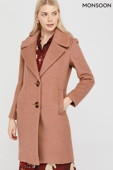 Monsoon Pink Billie Bouclé Coat