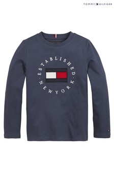 Tommy Hilfiger Blue Heritage Logo Long Sleeve T-Shirt