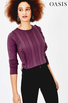 Oasis Purple Francesca Cable Jumper