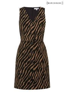 Warehouse Animal Tiger Jacquard Pinafore Dress