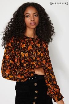 Warehouse Orange Retro Floral Frilled Top