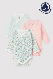 Petit Bateau Pink, Green And White Multi Bodysuits Three Pack