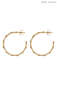 Mint Velvet Gold Tone Molten Hoop Earrings