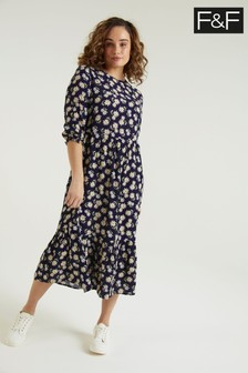 F&F Navy Daisy Midi Tier Dress