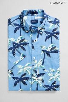GANT Blue Broadcloth Palm Print Regular Shirt