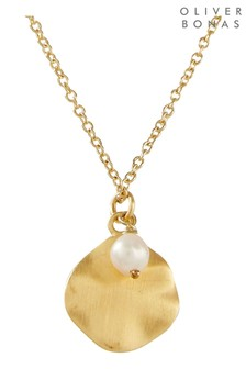 Oliver Bonas Gold Wavy Disc & Pearl Plated Pendant Necklace