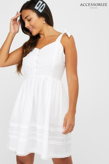 Accessorize White Button Pleat White Dress