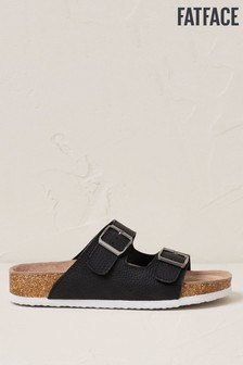 FatFace Black Meldon Footbed Nubuck Sandals