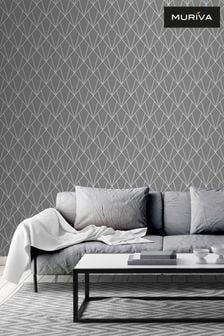 Muriva Grey/Silver Indra Deco Metallic Geo Wallpaper