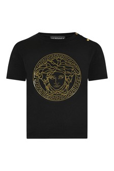 Versace Baby Black Cotton T-Shirt