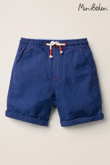 Mini Boden Navy Cotton Linen Roll-Up Shorts