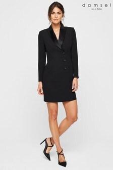 Damsel In A Dress Black Lolicia Tuxedo Satin Collar Dress