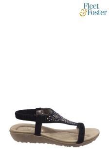 Fleet & Foster Black Nicosia Slingback Sandals