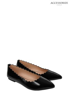 Accessorize Black Patent Scallop Point Shoes