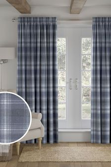 Blue Cosy Check Made to Measure Curtains