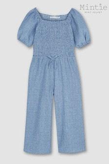 Mint Velvet Blue Chambray Stripe Jumpsuit