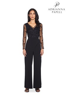 Adrianna Papell Black Knit Crepe Trousers