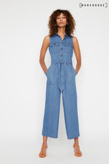 Warehouse Blue Sleeveless Wide Denim Jumpsuit