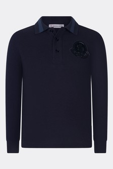 Boys Navy Cotton Pique Long Sleeve Polo Top