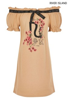 River Island Cream Bardot Frill Edge Tee Dress