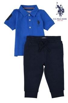 U.S. Polo Assn. Blue Player Polo & Jog Set