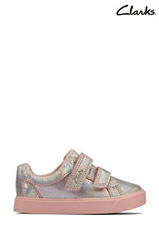 Clarks Pink Metallic City Oasis Lo Toddlers Velcro Shoes
