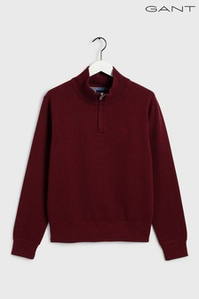 GANT Red Sacker Rib Half Zip Sweat Top