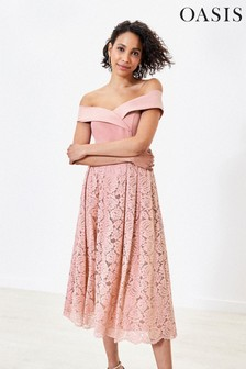 Oasis Pink Lace Skirt Bridesmaid Dress