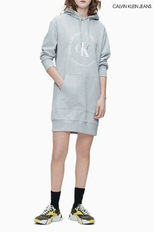 Calvin Klein Jeans Grey Round Logo Hoody Dress