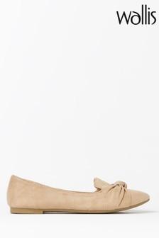 Wallis Barcelona Natural Knot Detail Point Ballerina Shoes