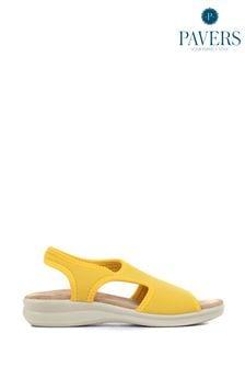 Pavers Yellow Ladies Stretch Sandals